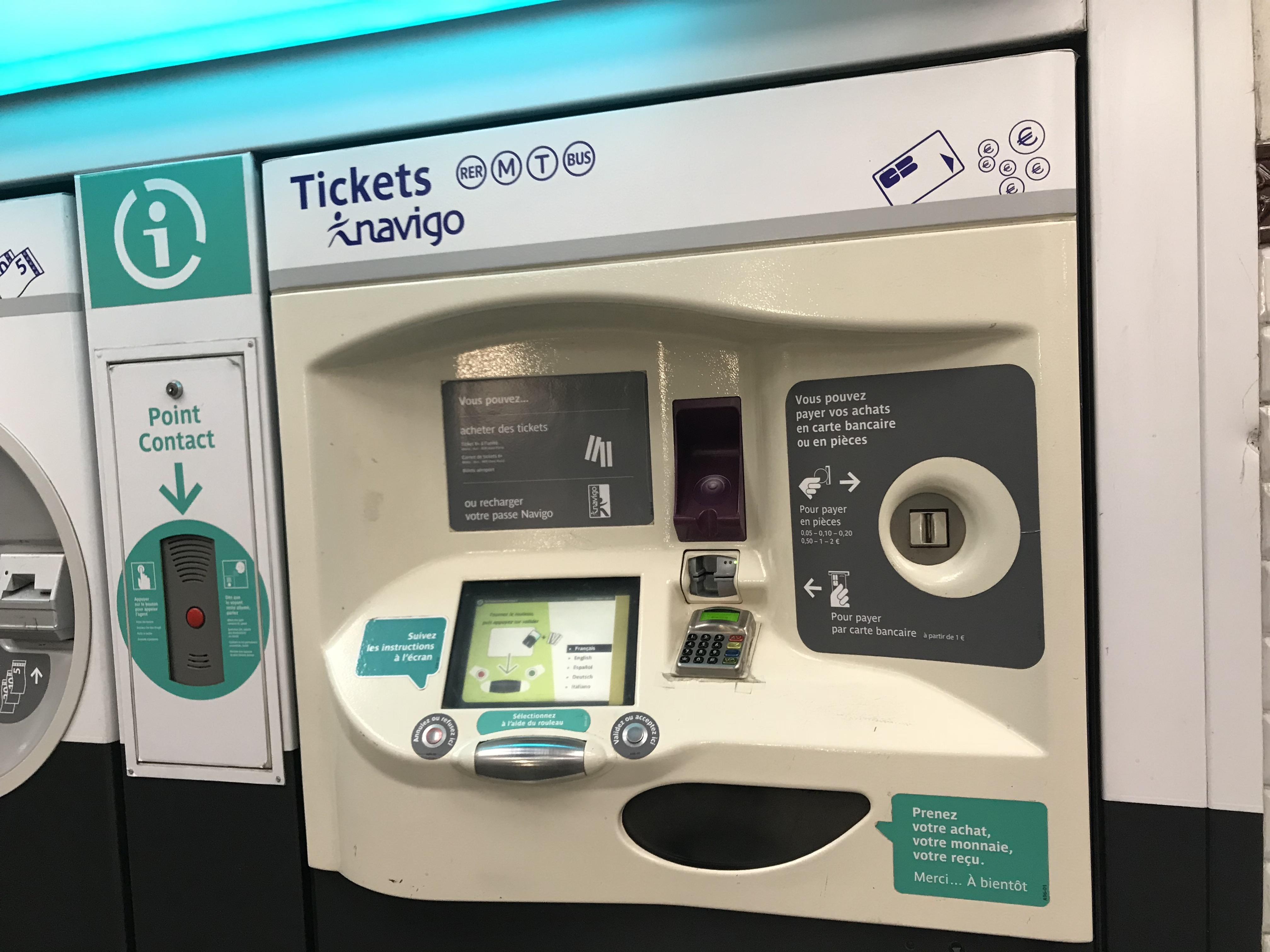 パリの地下鉄の券売機