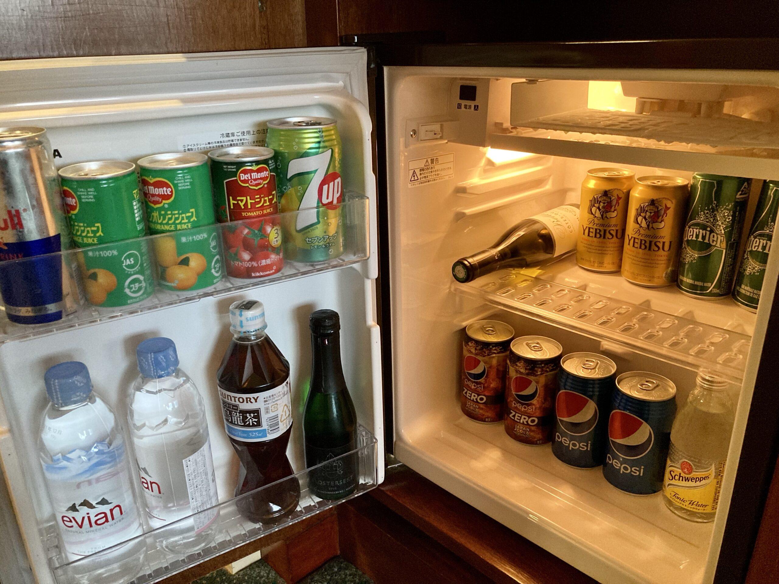 「ウェスティンホテル東京」客室の冷蔵庫の中